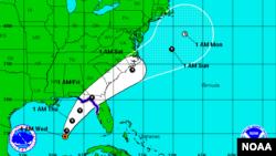 Trayectoria esperada de la depresión y tormenta tropical Hermine.