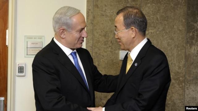 Sekjen PBB Ban Ki-moon bertemu PM Israel Benjamin Netanyahu di Yerusalem, Selasa (20/11).