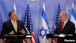 마이크 폼페오 미국 국무장관(왼쪽)과 베냐민 네타냐후 이스라엘 총리가 20일 예루살렘에서 공동 기자회견을 열었다.
