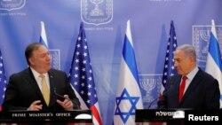 El secretario de Estado de EE. UU., Mike Pompeo, y el primer ministro israelí, Benjamin Netanyahu, pronuncian declaraciones conjuntas durante su reunión en Jerusalén, el 20 de marzo de 2019.