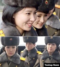 '북한판 걸그룹' 모란봉악단이 9일 평양에서 베이징을 향해 출발하기 전(위)과 12일 귀국을 위해 베이징 공항에 도착했을 때(아래)의 표정 차이가 뚜렷하다. 이들은 12일 베이징 첫 공연을 불과 몇 시간 앞두고 갑자기 취소해 여러 분석을 낳고 있다.