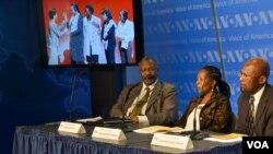 Panelists Gregory Simpkins (L), Sibongile Sidile Sibanda (C), and Reverend Isaac Mwase (R)