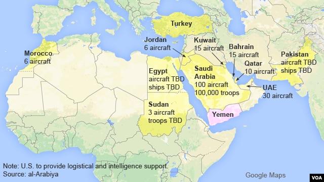کشورهای عضو ايتلاف عربستان سعودی بر ضد ملیشه های حوثی
