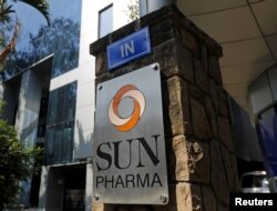 FILE - The logo of Sun Pharmaceutical Industries Ltd is pictured at its research and development center in Mumbai, India, Dec. 21, 2015.