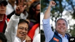 Dalam foto kombinasi, dua kandidat Presiden Kolombia, Gustavo Petro (kiri) dan Ivan Duque, keduanya di Bogota, Kolombia. Kolombia melaksanakan pemilihan presiden pada 27 Mei 2018.