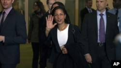 UN Ambassador Susan Rice walks from the United Nation General Assembly at U.N. headquarters in New York, November 29, 2012.