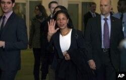 美国驻联合国大使赖斯2012年11月29日在联合国总部。(照片来源:美联社)