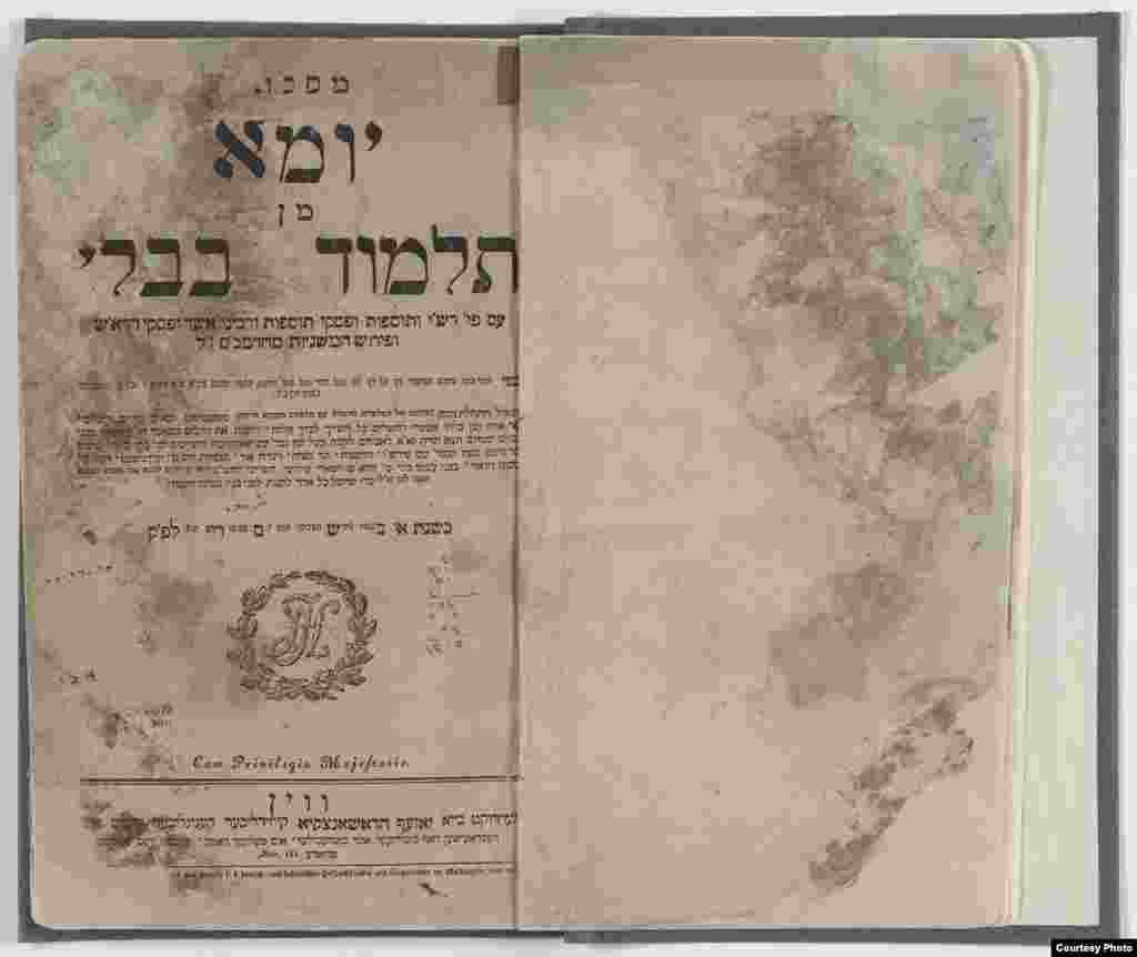 A restored Babylonian Talmud. This volume of the Talmud discusses laws and topics relating to Yom Kippur, the Day of Atonement. (U.S. National Archives)