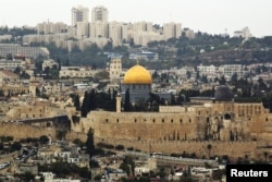 FILE - A general view of Jerusalem's old city shows the Dome of the Rock in the compound known to Muslims as Noble Sanctuary and to Jews as Temple Mount, Oct. 25, 2015.