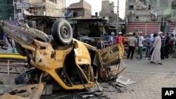 지난 5월 이라크 바그다드에서 발생한 차량폭탄테러 현장. (자료사진)