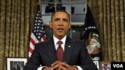 Presiden Barack Obama saat menyampaikan pidato tentang ancaman terorisme dari Gedung Putih.