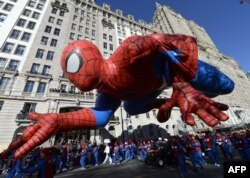 The Spiderman balloon in Thanksgiving Day Parade in New York November 28, 2013.