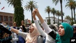 Des manifestantes devant le Parlement marocain, Rabat, le 11 juin 2017