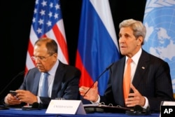 U.S. Secretary of State John Kerry, right, and Russian Foreign Minister Sergei Lavrov, shown at a Feb. 16 meeting in Germany, have pressed for the cease-fire.