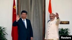 Thủ tướng Ấn Độ Narendra Modi và Chủ tịch Trung Quốc Tập Cận Bình tại New Delhi, ngày 18/9/2014.