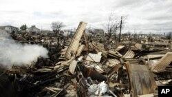 Así quedó tras el huracán Sandy una comunidad de un centenar de casas en Nueva York.