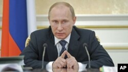 Russian Prime Minister Vladimir Putin speaks during a meeting of the Government Presidium in Moscow, January 12, 2012.