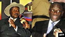 Tổng thống Uganda Museveni (trái) và ông Besifye, lãnh tụ phe đối lập (phải)
