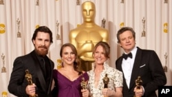 "Christian Bale, Oscar® winner for Performance by an Actor in a Supporting Role for his role in ""The Fighter""; Natalie Portman, Oscar® winner for Performance by an Actress in a Leading Role for her role in ""Black Swan""; Melissa Leo, Oscar® winner for Perfo"