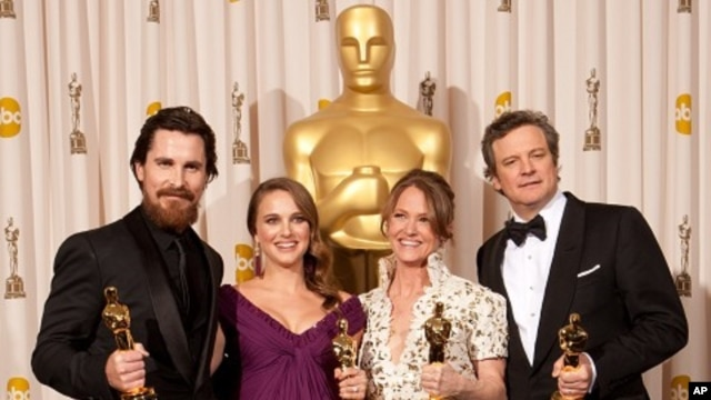 """Christian Bale, Oscar® winner for Performance by an Actor in a Supporting Role for his role in """"The Fighter""""; Natalie Portman, Oscar® winner for Performance by an Actress in a Leading Role for her role in """"Black Swan""""; Melissa Leo, Oscar® winner for Perfo"""