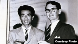 Milton Osborne (right) with his oldest Cambodian friend, Prince Sisowath Phandaravong at the British Embassy in Phnom Penh in July 1961. (Courtesy photo of Milton Osborne)