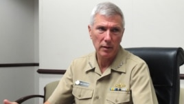 FILE - Adm. Samuel Locklear III, the U.S. Pacific Command commander, speaks to reporters at his headquarters in Camp H.M. Smith, Hawaii, July 25, 2012.