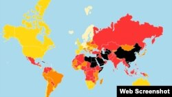 نقشه سال ۲۰۱۷ آزادی رسانهها در دنیا - منبع: گزارشگران بدون مرز