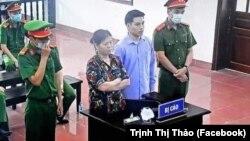 Bà Cấn Thị Thêu và Trịnh Bá Tư tại phiên toà ngày 5/5/2021.