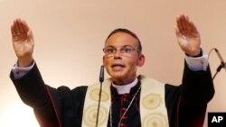 FILE - German Catholic Bishop Franz-Peter Tebartz-van Elst is seen in Frankfurt in a August 29, 2013, file photo.