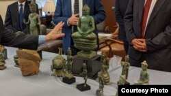 Khmer artifacts were displayed during the handover ceremony to Cambodian government at the Manhattan District Attorney Office, in New York, on June 09, 2021. (Courtesy of Royal Embassy of Cambodia to the United States)