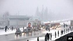 지난 12월 북한 김정일 위원장 영결식