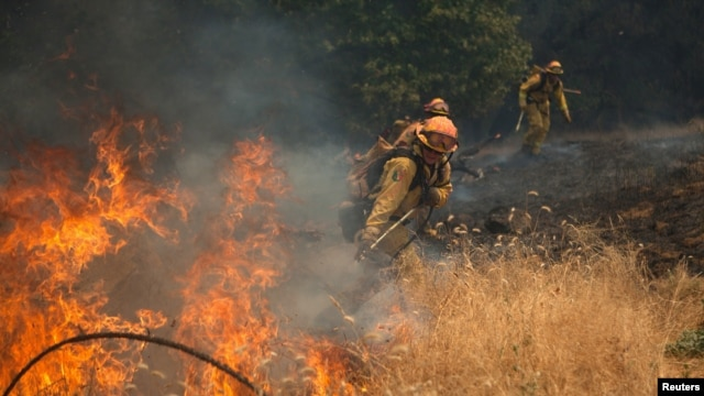 Firemen battle a spot fire near Plymouth, California, July 26, 2014.
