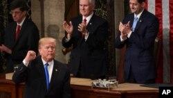 Le président Donald Trump à la fin de son discours annuel à Capitol Hill à Washington, le 30 janvier 2018.