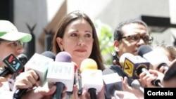 """María Corina Machado dijo que acudirá a declarar a la Fiscalía, que la acusa de planear un """"magnicidio"""" (Foto: Prensa MCM)."""