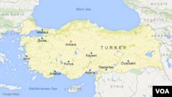ແຜນທີ່ປະເທດເທີກີ ຮວມທັງເມືອງ Kayseri.