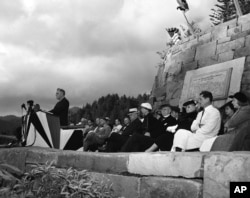 President Franklin D. Roosevelt is dedicating the Great Smoky Mountains National Park at Newfound Gap, N.C.-Tennessee, on Sep. 2, 1940.