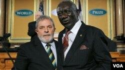 Los ex presidentes de Ghana y Brasil recibieron el Premio Mundial de los Alimentos por sus esfuerzos para luchar contra el hambre en sus países.