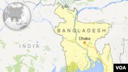 Peta Bangladesh dan letak kota Dhaka.