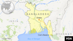 Map showing Dhaka and Cox's Bazar, Bangladesh