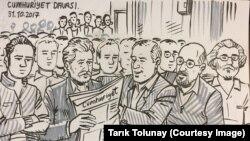 Cumhuriyet Davası sanıkları (Çizen: Tarık Tolunay)