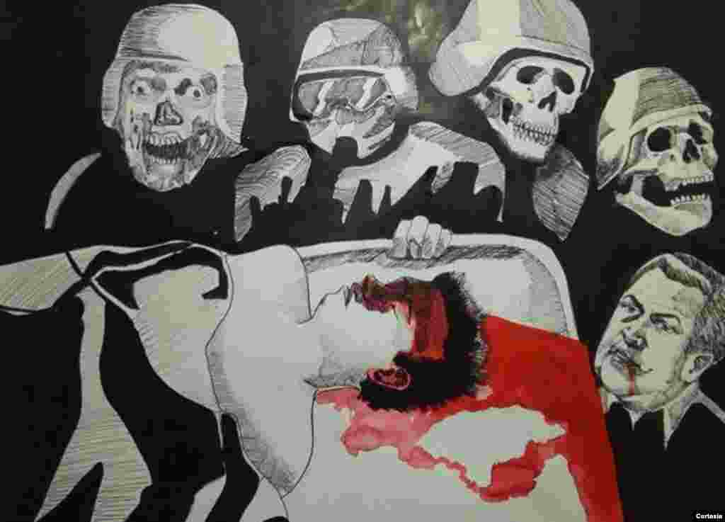 Daniel Valladares a través de sus trabajos artísticos rinde un tributo póstumo a todas las víctimas mortales de los enfrentamientos en Honduras tras los resultados electorales recientes en donde una gran mayoría atribuye que hubo fraude.