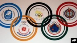 FILE - Logo of the Association of National Olympic Committees or ANOC.