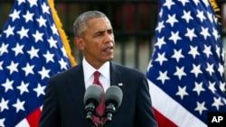 Tổng thống Mỹ Barack Obama phát biểu tại một buổi lễ tưởng niệm sự kiện 11/9 ở Ngũ Giác Đài, ngày 11/9/2016.