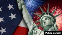 美国国旗和自由女神像