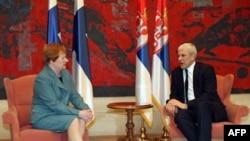Predsednici Finske i Srbije Tarja Halonen i Boris Tadić razgovaraju tokom zvaničnog susreta u palati Srbije, 31. mart 2011.