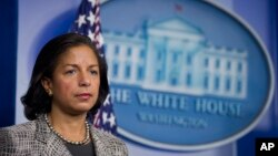"FILE - National security adviser Susan Rice says the United States ""stands squarely with the people of Burkina Faso in rejecting this threat to their democratic progress."""