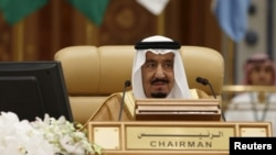 FILE - Saudi King Salman bin Abdulaziz attends the final session of the South American-Arab Countries summit, in Riyadh on Nov. 11, 2015.