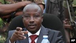 Jean-Marie Runiga, lors d'une conférence de presse le 30 janvier 2013, Bunagana, RDC.
