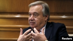 United Nations High Commissioner for Refugees Antonio Guterres meets with Greek Prime Minister Alexis Tsipras (not pictured) in Maximos Mansion in Athens, Greece, Oct. 12, 2015.
