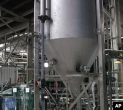Calera's cement product separates from the water in large holding tanks